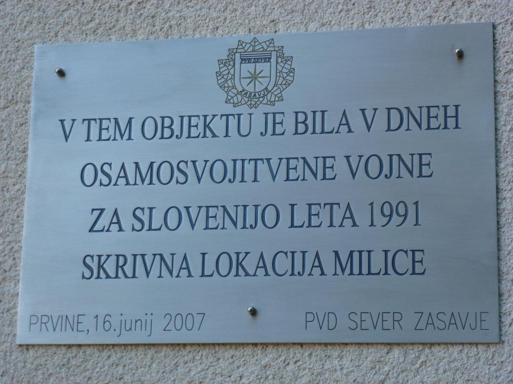 Spominska plošča Prvine (2007)